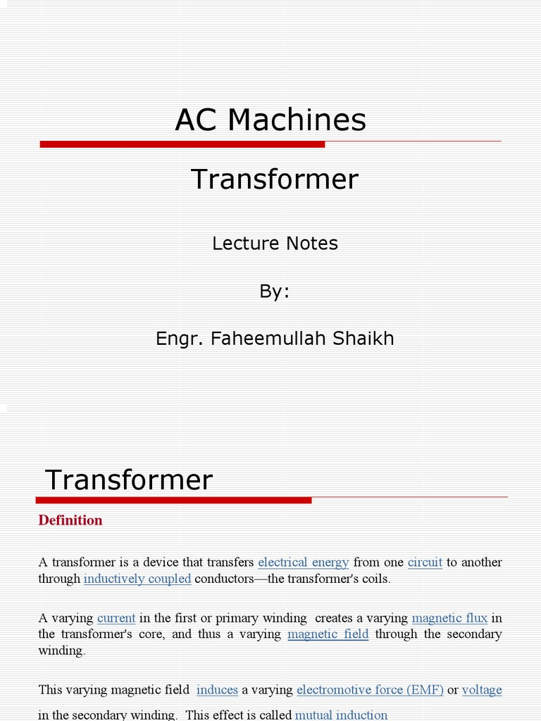 Transformer   Transformer   Electromagnetic Induction
