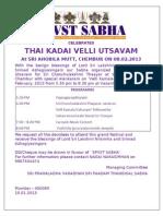 Thai Kadai Velli Utsavam 2013