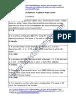Siemens Sample Aptitude Placement Paper Level1
