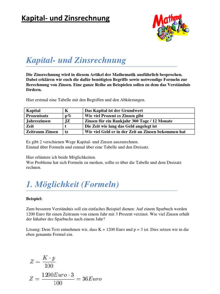 Mathe _Kapital- Und Zinsrechnung