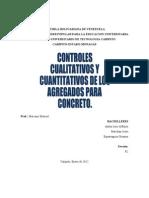 Controles Cualitativos y Cuantitativos de Los Agregados Para Concreto