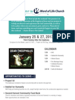 Word of Life Church Bulletin for January 15 & 27, 2013