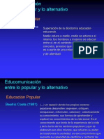 Educomunicacion Entre Lo Popular y Lo Alternativo