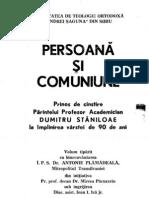 Dumitru Staniloae - Prinos de cinstire Parintelui. Persoana si comuniune