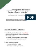 Las Acciones Para La Defensa de Los Derechos de Patente