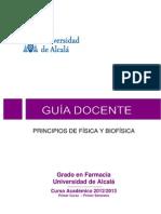 U. DE ALCALA - FARMACIA - PRINCIPIOS DE FÍSICA Y BIOFÍSICA- 2012-13