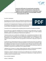 Protocolo de la Convención de 1979 sobre la contaminación atmosférica transfronteriza a larga distancia relativo a la financiación a largo plazo del programa concertado de vigilancia continúa y evaluación de la transmisión a larga distancia de sustancias contaminantes atmosféricas en Europa (EMEP). Ginebra, 28 de septiembre de 1984