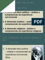 """DIMENSÕES DA ACÇÃO HUMANA E OS VALORES (de acordo com manual """"Pensar Azul"""")"""