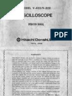 Hitachi Model V-422-V-222 Oscilloscope Operation Manual