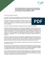 Convenio para la aplicación del procedimiento de consentimento fudamentado previo a ciertos plaguicidas y productos químicos peligrosos objeto de comercio internacional. Rotterdam, 10 de septiembre de 1998