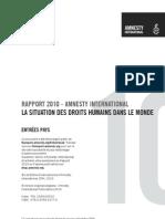 Amnisty International - Rapport 2010 Sur La Situation Des Droits Humains Dans Le Monde