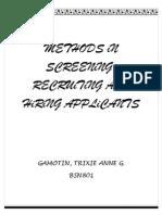 methods in screening