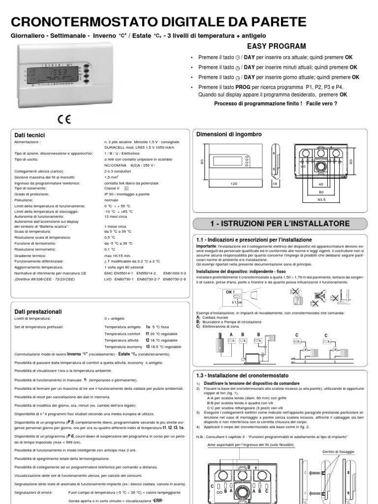 Manuale istruzioni cronotermostato perry decrnn005 for Manuale termostato perry