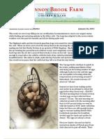 Shannon Brook Farm Newsletter 1-26-2013