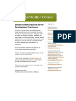 Draft Certification Model for Ontario Career Development Practitioners