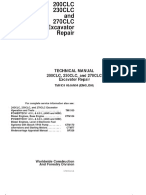 200clc, 230clc, And 270clc Repair Tm1931 | Screw | Nut (Hardware)