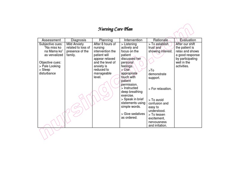 Care Plan For Anxiety - slidedocnow