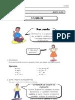 I BIM - 1er. Año - ALG - Guía 6 - Polinomios