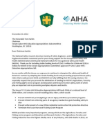 Letter to Sen. Tom Harkin  from the American Industrial Hygiene Association, the American Society of Safety Engineers and the National Safety Council