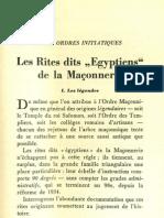 Mallinger - Les Rites Dits Egyptiens de La Maconnerie