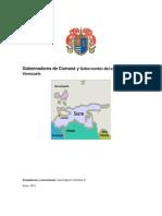 Gobernadores de Cumaná y Gobernantes del estado Sucre, Venezuela