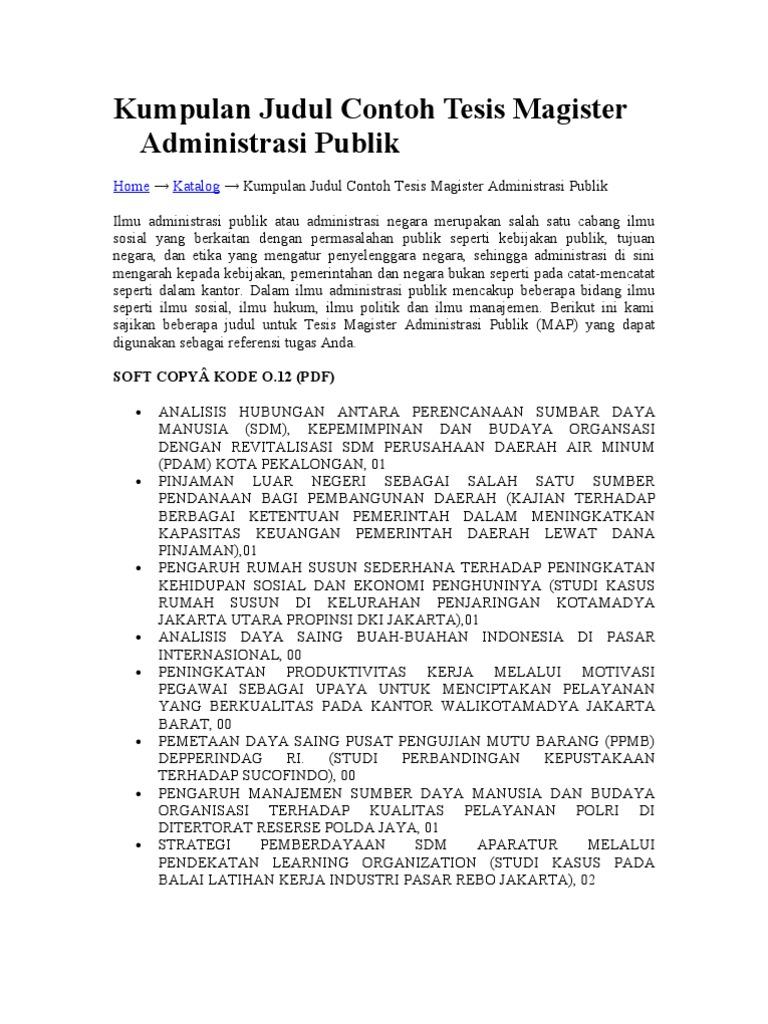 contoh proposal tesis msdm lengkap