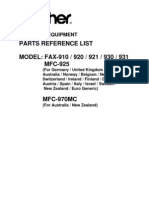 Brother Fax 910,920,921,930,931,MFC925,970MC Parts List
