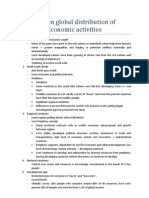 Uneven global distribution of economic activity