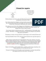 Advisory Committee- 2010-01-10- Closed for Repairs