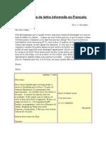 Un exemple de lettre informelle, formelle en Français (1)