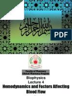 Biophysics Lecture 4 Hemodynamics