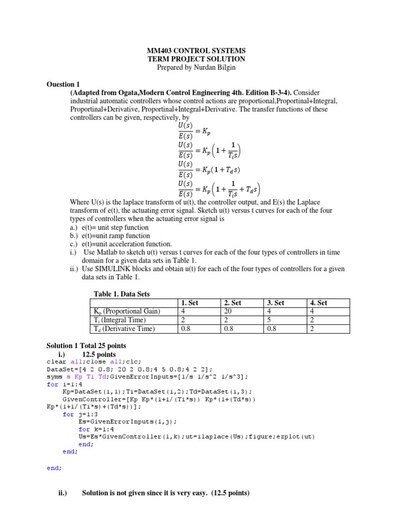 Solutions of Mm403 Control Systems Project   Control System   Electrical  Engineering