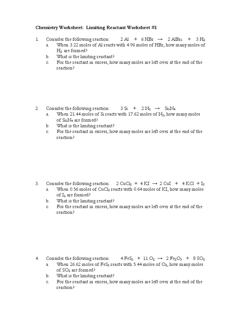 Limiting Reactant Worksheet - Calleveryonedaveday
