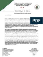 LAMENTAN DECESO DE LA DRA. SANTIAGO GONZALEZ COMUNICADO DE PRENSA
