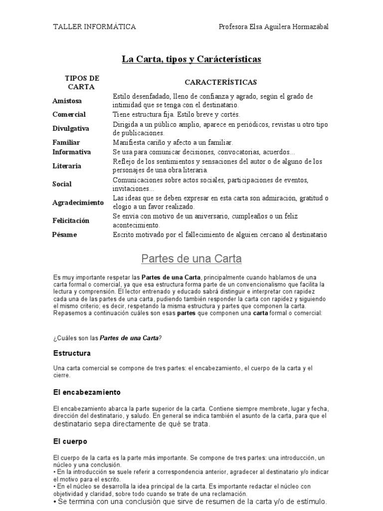 La Carta, tipos y Carácterísticas