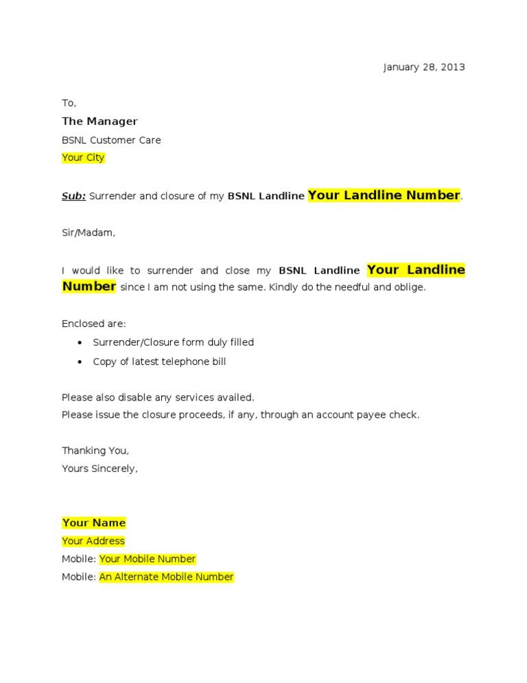 Complaint Letter Format To Mtnl.  BSNL Broadband closure Application form