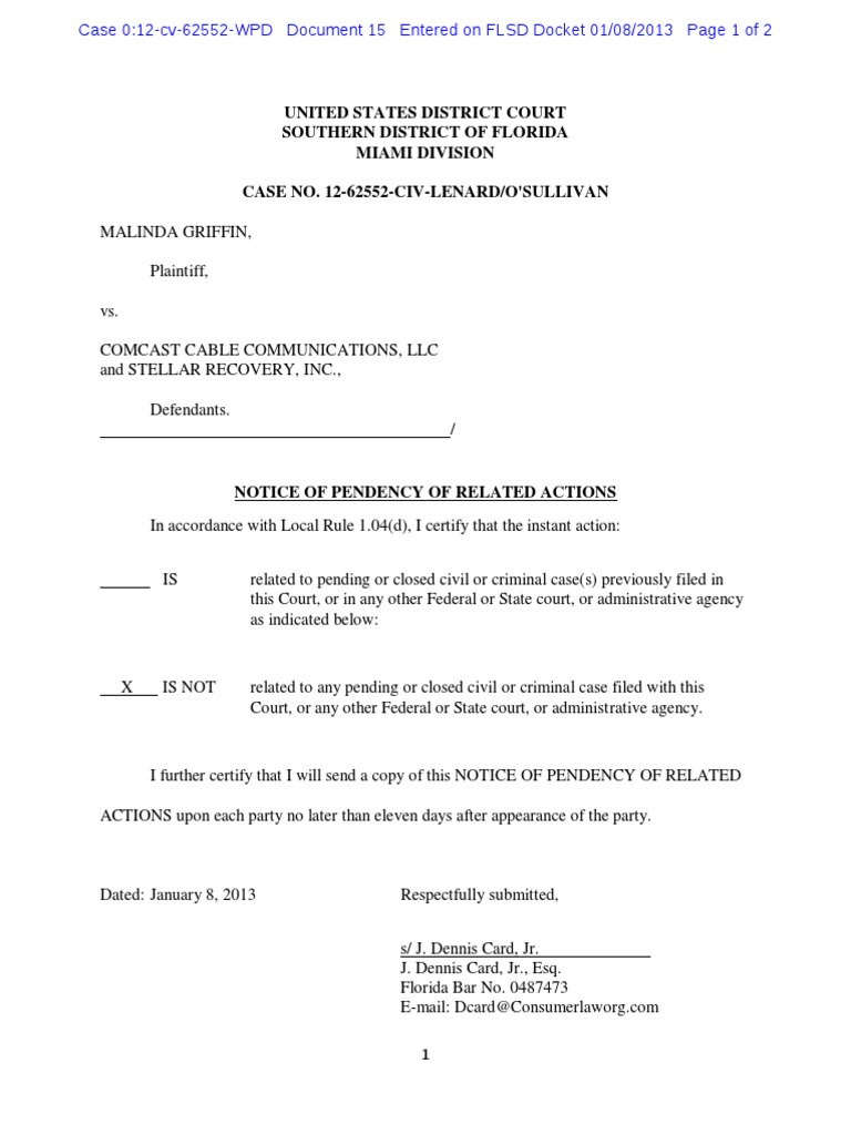 notice of pendancy of related actions griffin v comcast stellar
