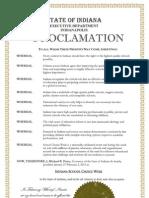 Indiana Proclamation 2013