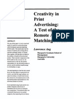 Australasian Marketing Journal (AMJ) Volume 8 Issue 1 2000 [Doi 10.1016%2Fs1441-3582%2800%2970183-2] Lawrence Ang -- Creativity in Print Advertising- A Test of the Remote Associate Matching Model