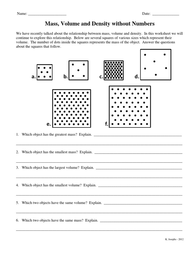Mass Volume and Density without Numbers Density – Volume and Density Worksheet