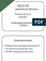 Semiconductor Fundamentals Lec1