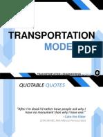 TRANSPORTATION MODELING