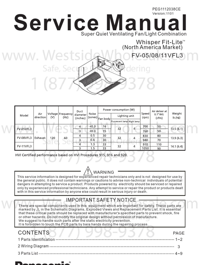 Panasonic Whisperfitlite Service Manualmanual Spec Sheet Belajar Wiring Diagram Westside Wholesale Call 1 877 998 9378imagemarked Electrical Connector Screw