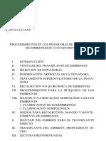 PROCEDIMIENTOS EN LOS PROGRAMAS DE TRANSPLANTE DE EMBRIONES EN BOVINOS