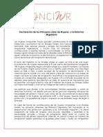 Declaración de los Principios sobre las Mujeres  y la Reforma Migratoria