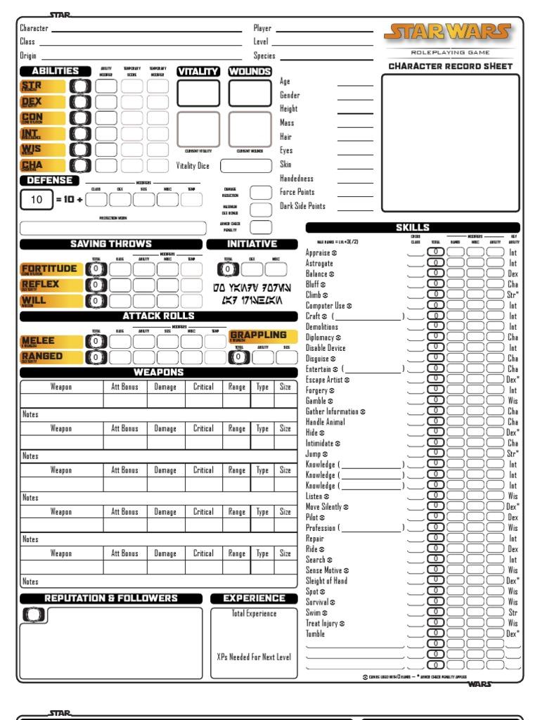 star wars character sheet pdf