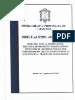 Directiva Nº 001-2012-MPHA (aprobado el 18-09-2012