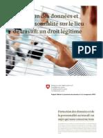 Protection des données et de la personnalité sur le lieu de travail