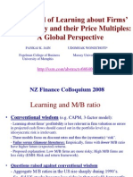 The Speed of Learning About Firms' Profitability and Their Price Multiples a Global Perspective