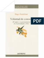 Libro- Voluntad de Conocer- Hugo Zemelman